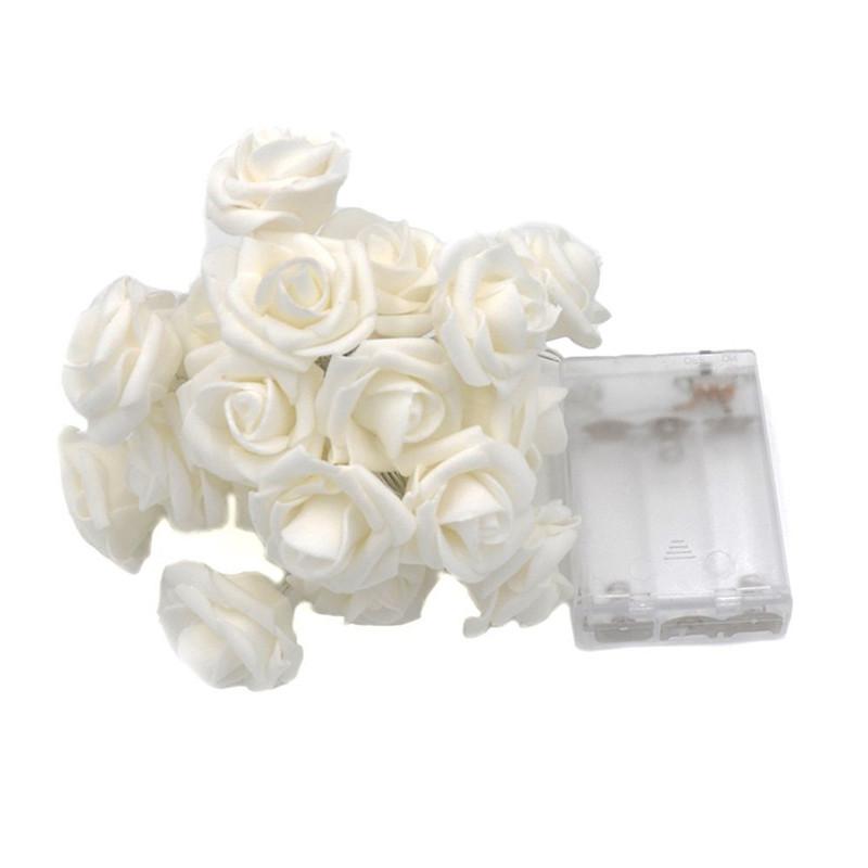 10/20 LEDs Zasilany baterią LED Rose Flower Lights String Christmas Fairy Light Valentine Wedding Holiday Party Decoration