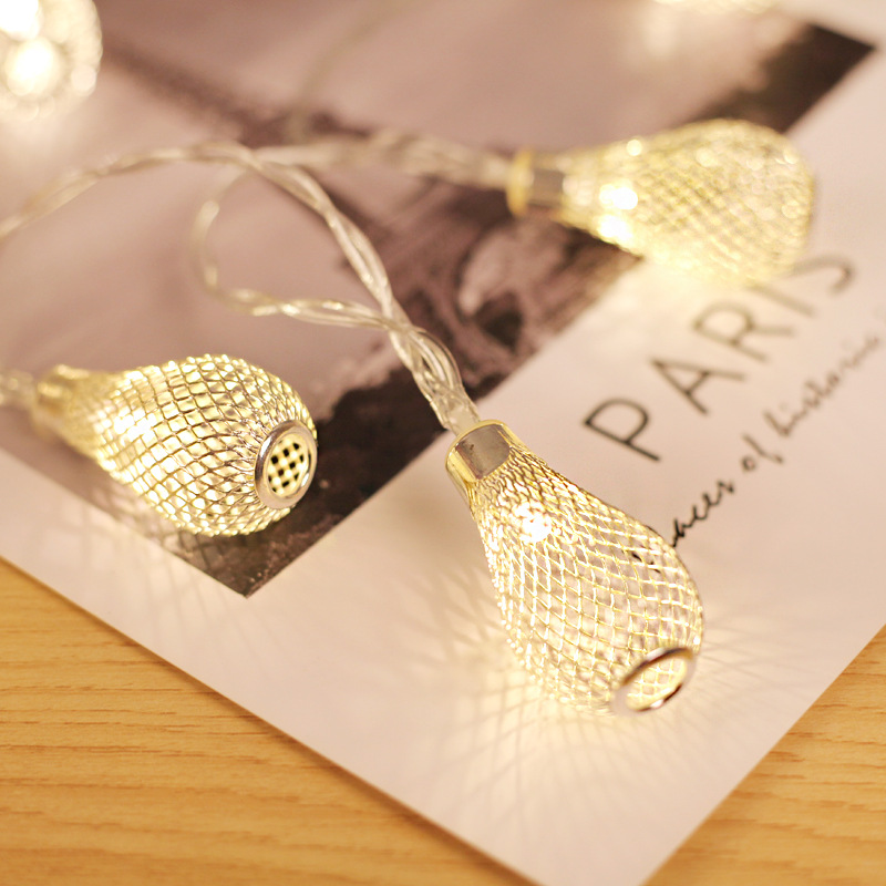 Diody LED 10/20/40 Lampki z sygnalizacją świetlną, bateryjne oświetlenie świąteczne Fairy Light, lampa z hollow water drop Lampka na świąteczne dekoracje ślubne Rozmiar: Golden 40 LED