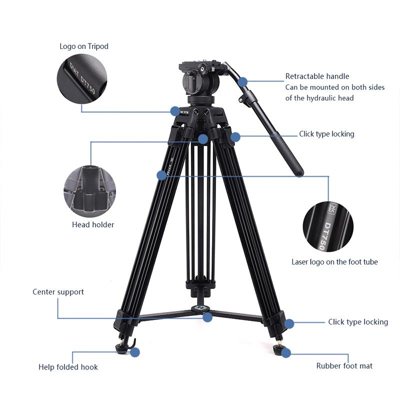 DIAT nowa kamera wideo DT750 obsługuje statyw trzy sekcje statyw o wysokiej 1,7 metra DSLR