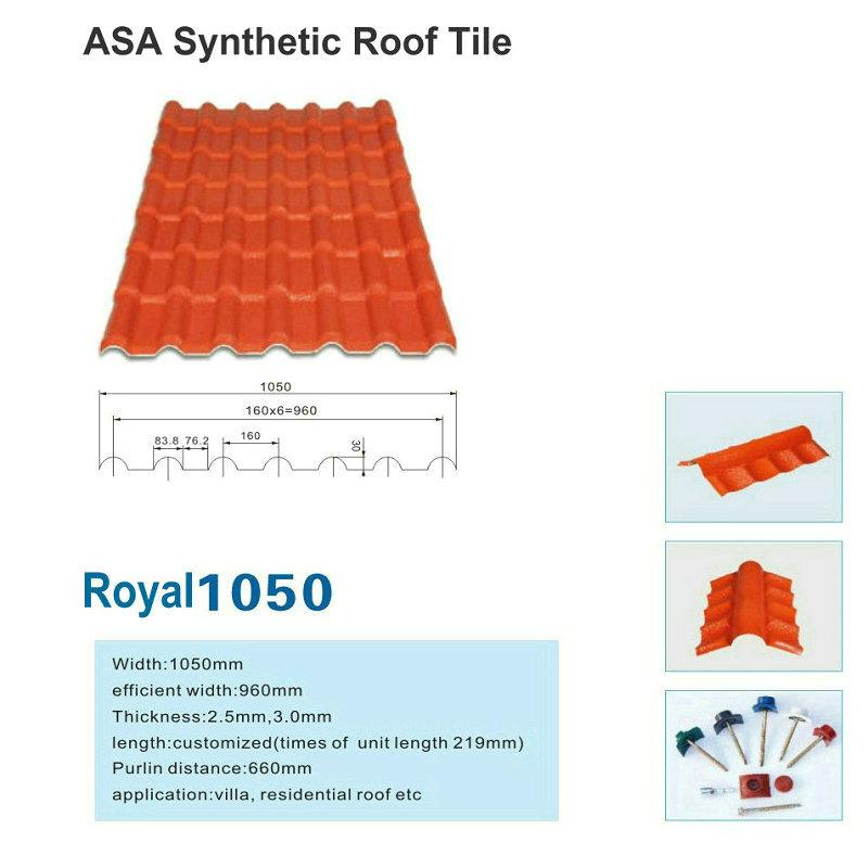 Royal1050 Nowa ASA Płytki dachowe z żywicy syntetycznej Blacha dachowa Fabryka Sprzedaż