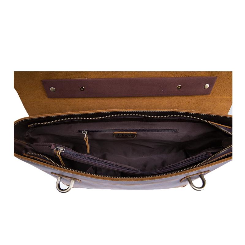 Wysokiej jakości torba na ramię z prawdziwej skóry szalona męska torba na laptopa