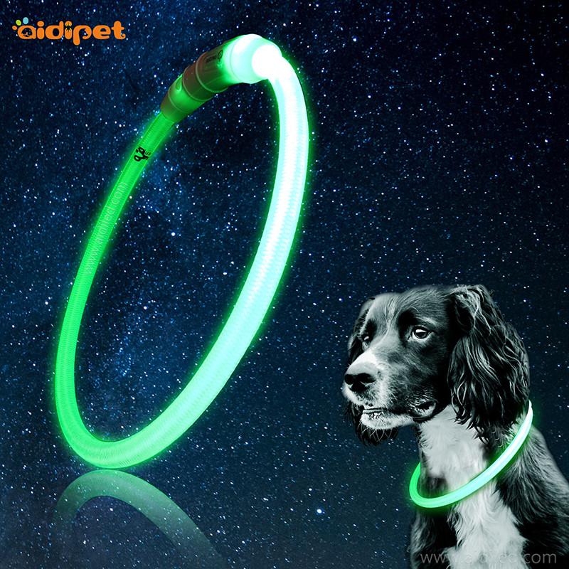 Nylonowa podświetlana obroża dla psa Rurowy naszyjnik dla zwierząt swobodnie krojony