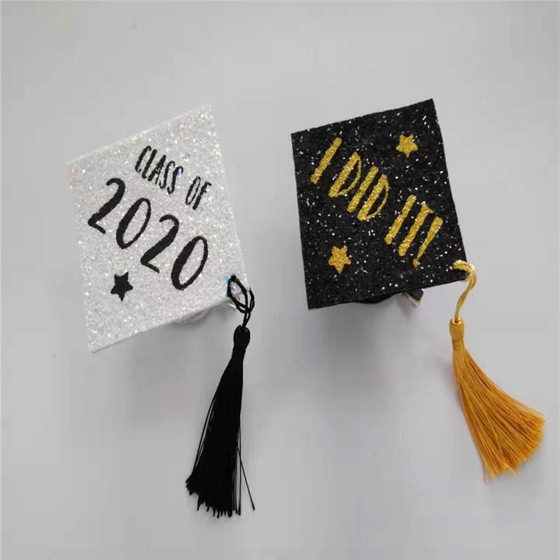 Biała czapka z różowym kolorem Glitter Graduation Party Hat