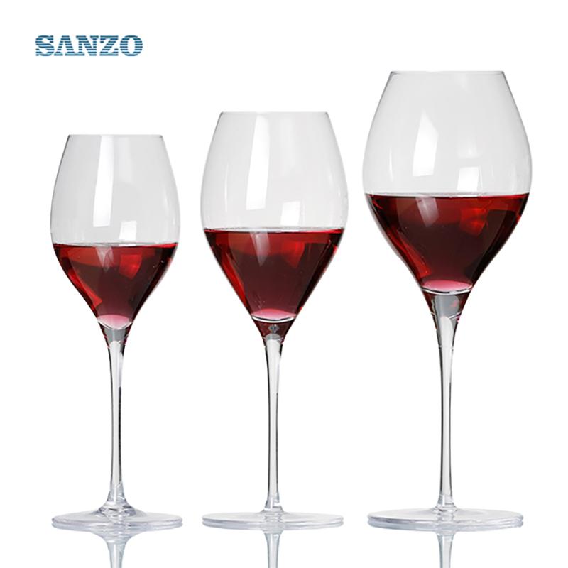 SANZO Black Stem Lismore Balloon Kieliszek do wina Ręcznie robione bezołowiowe kryształowe szklane grawerowane grube szklanki