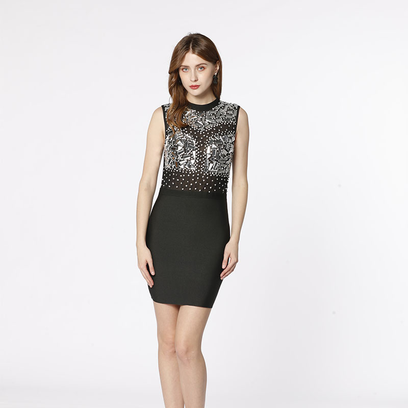 Fabryczna czarna siatka OEM przezroczysta ręcznie robiona z kryształu diamentowa seksowna elegancka bodyconowa bandażowa sukienka na wieczorne przyjęcie