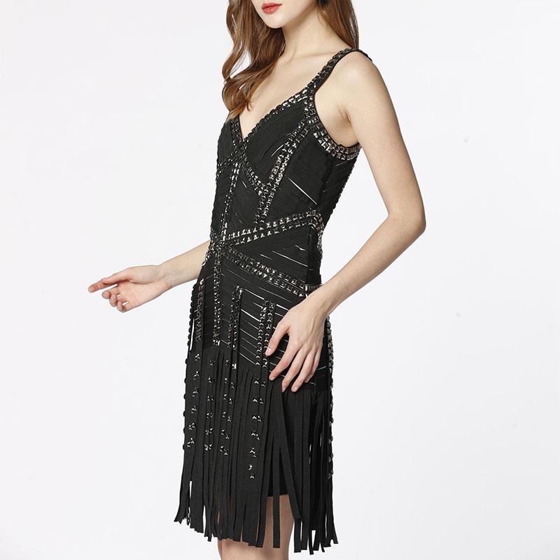Luksusowy ręcznie robiony nit seksowny bodycon damski pasek koktajlowy frędzel wieczór party kobiety bandaża sukni