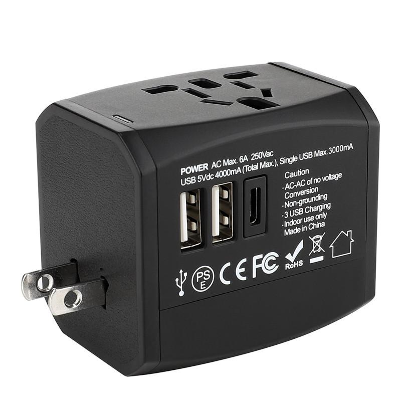 Nowy niestandardowy uniwersalny adapter podróżny RRTRAVEL z inteligentnym światem z szybką wtyczką USB do ładowarki w Wielkiej Brytanii, USA i Australii