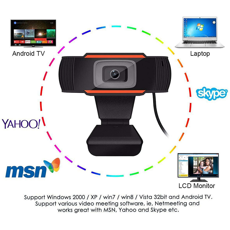 HD 1080P Kamera komputerowa PC Desktop Rotable USB 2.0 Aparata z mikrotelefonem cyfrowym