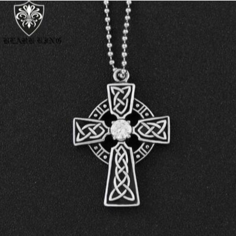 Personalizowany wzorzec mężczyzna\\ ze stali nierdzewnej cross ring retro fashion Diamond Cross Pendant